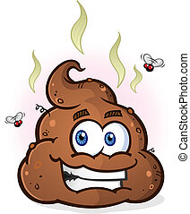 A steaming pile of smelly brown poop with a big smile, fumes and flies