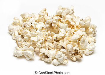 Pile of popcorn isolated on white background