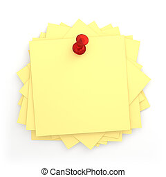Pile Of Post-it - 3D Pile of Post-it with Red Thumbtack -...