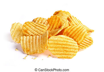 potato chips - Pile of potato chips isolated on white ...