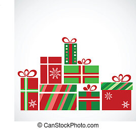 pile of presents for christmas, vector illustration