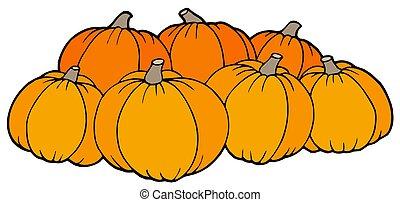 Pile of pumpkins - isolated illustration.