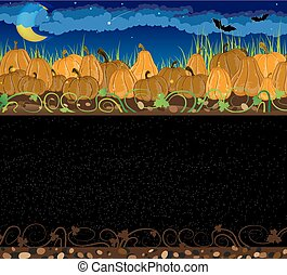 Pile of pumpkins. Halloween night background