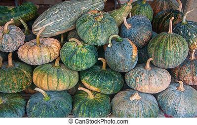 Pile of pumpkins texture background in market
