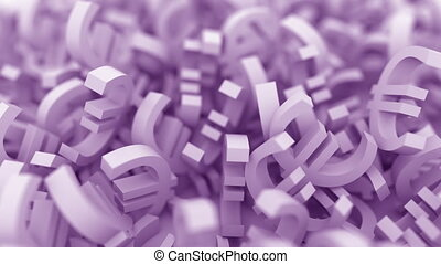 Pile of purple euro signs. Conceptual 3D animation - Pile of...