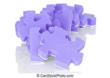 pile of purple puzzle