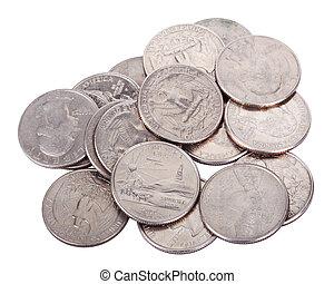 Pile of Quarters - A pile of 25 US cent (quarter) coins ...