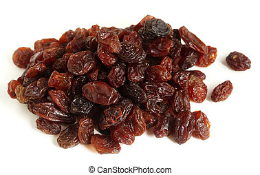 A pile of dark brown raisins over a white background, ready for baking