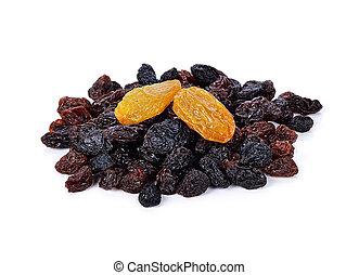 Pile of raisins on white background.