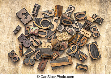 numbers in letterpress wood type