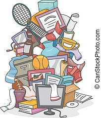 Pile of Random Stuff - Illustration of a Huge Pile of Random...