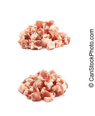 Pile of raw bacon bits isolated