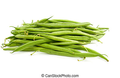 Pile of raw green beans