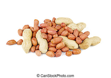 Pile of raw shelled and unshelled peanuts isolated on the white background