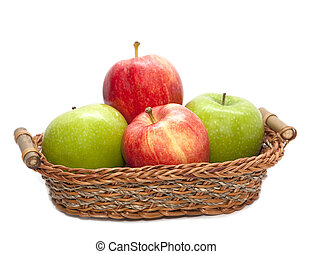 Pile of red and green apple