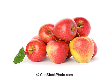 Pile of red apples isolated on white background