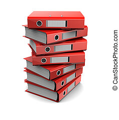 pile of red binder folders - 3d clipart of pile of red...