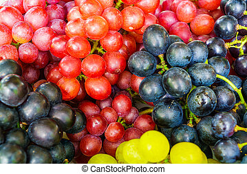Pile of Red, Black and White Grapes
