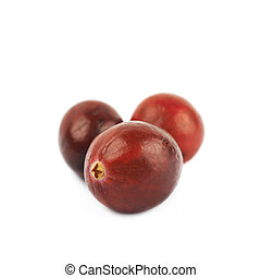 Pile of red cranberries isolated