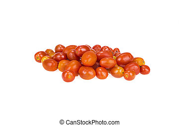 Pile Of Red Grape Tomatoes Isolated On White In Studio