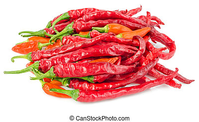 Pile of red hot chili peppers isolated