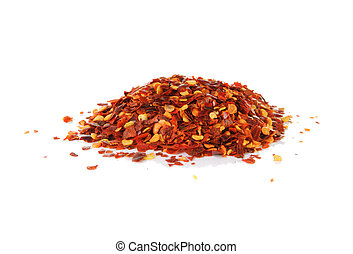 Pile of red pepper flakes on a white background