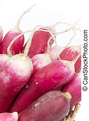 Pile of red radishes over white background