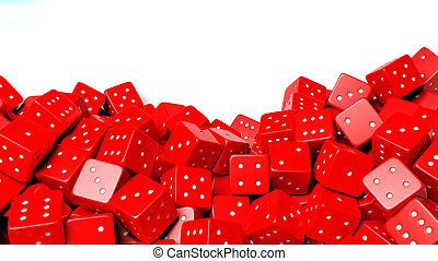 Pile of red random dices with copy-space, isolated on white background