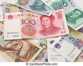 Pile of Renminbi, the currency note of China