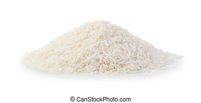 Pile of rice isolated on white