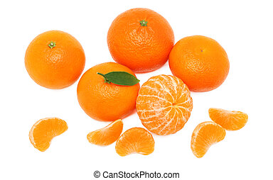 Pile of ripe mandarins (isolated)