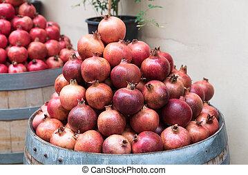 Pile of ripe pomegranates
