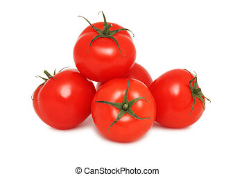 Pile of ripe tomatoes (isolated)