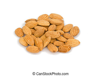 Pile of Roasted almonds isolated on white background