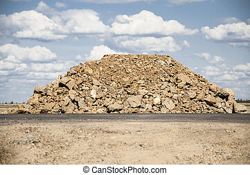 Pile of rock for road construction
