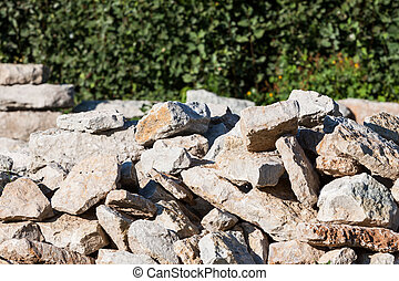 Pile of rocks for construction