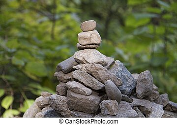 Pile of Rocks in Sunny Green Forest