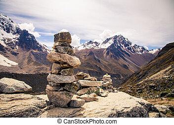 pile of rocks mountains peru