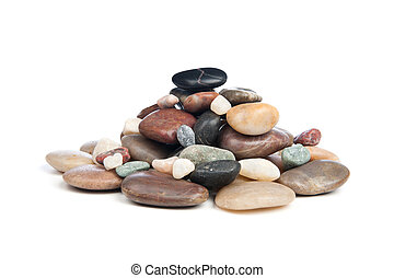 Pile of rocks - A pile of smooth, shiny river rocks on a...