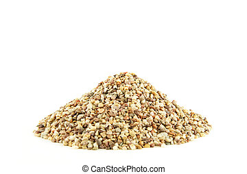 Pile of small rocks on white background