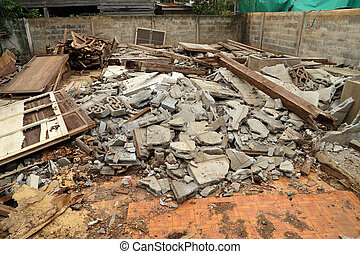 demolished building - Pile of rubble of a demolished...