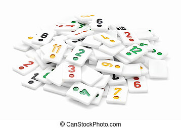 rummy pieces - pile of rummy pieces on white