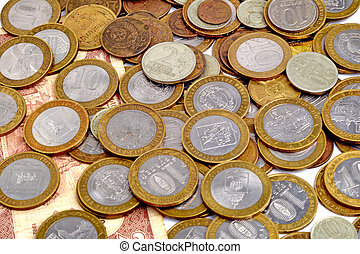 Pile of russian coins