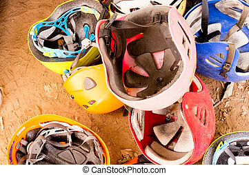 Pile of safety helmets