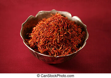 pile of saffron in a metal bowl