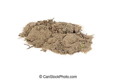 pile of sand on a white background