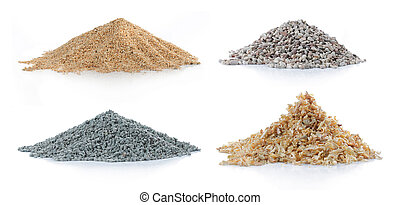 pile of sand, pine wood, green carbon and rock - pile of...