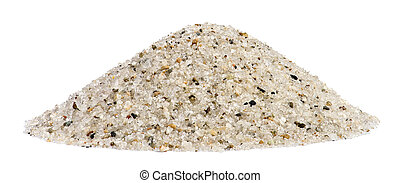 Pile of sand quartz mix with rock granular isolated on white background