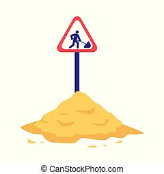 Pile of sand with sign warning of construction or repair work.