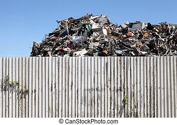 scrap metal - Pile of scrap metal at a recycling facility